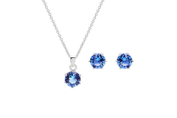 Blauwe ketting en oorbellen met Swarovski-elementen