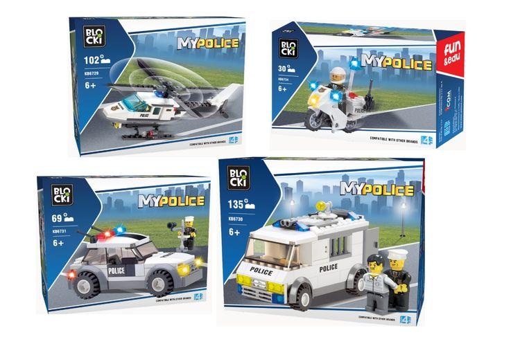 4 politievoertuigen van Blocki-bouwstenen
