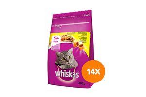 Adult kip maaltijdzakjes van Whiskas (14 stuks)