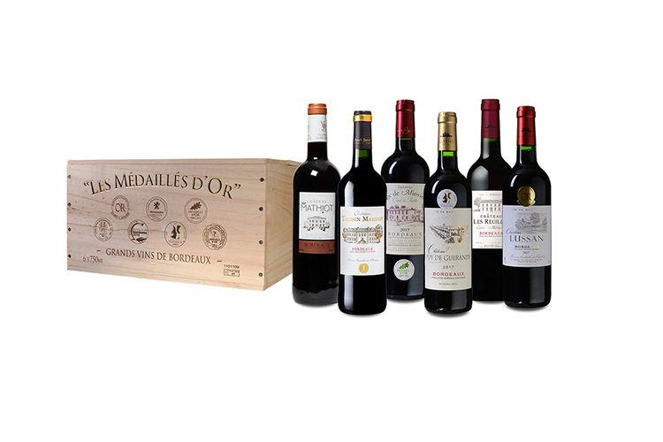 6 goudbekroonde wijnen uit Bordeaux in luxe wijnkist