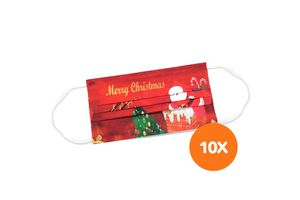 10 mondkapjes met kerstprint (3-laags)