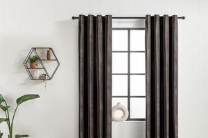 2 rideaux de couleur taupe foncé avec anneaux