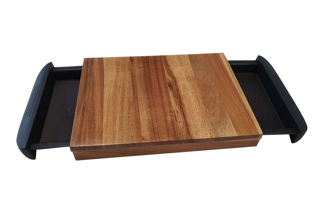 Houten snijplank met opvangvakken (38 x 24,5 x 3,5 cm)