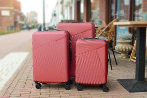 3-delige kofferset (donkerrood)