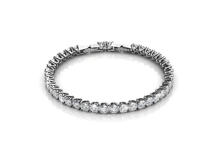 Zilverkleurige armband met zirkonia-stenen