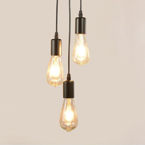 3 plafondlampen aan koorden (in lengte verstelbaar)