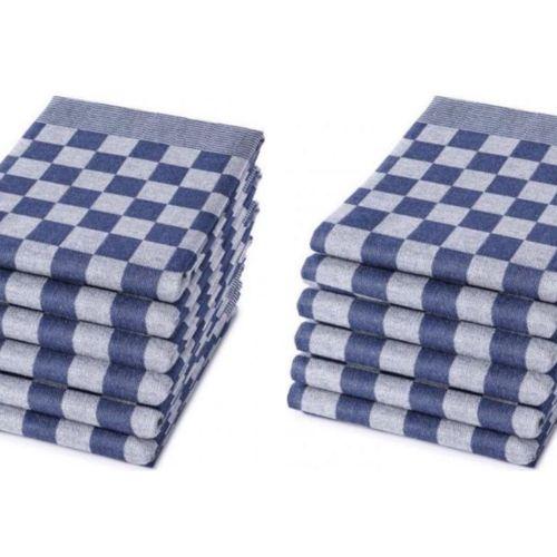 Korting Set van 12 geblokte theedoeken (blauw met wit)