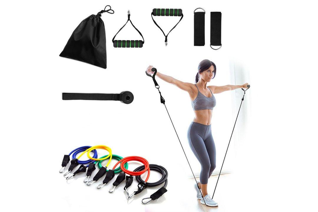 Korting 11 delige fitness set met o.a. 5 weerstandsbanden