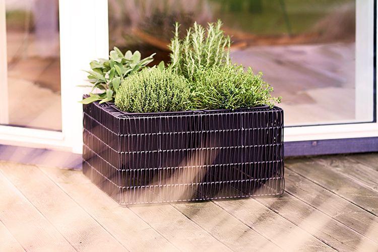 Rotan plantenstandaard (vierkant)
