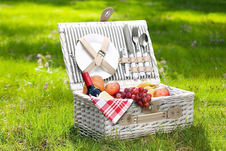 Picknickmand met koelvak en servies voor 2 personen