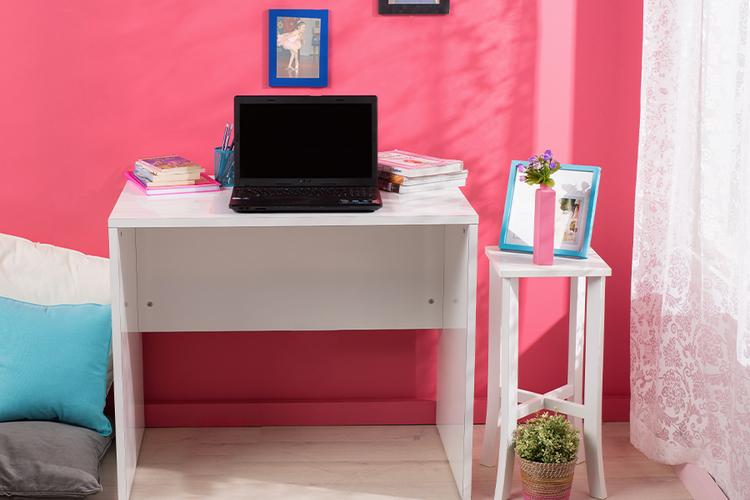Hoogglanswit houten bureau (90 x 75 x 60 cm)