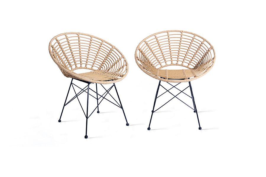 Set van 2 rattan stoelen van Lifa Living (naturel)