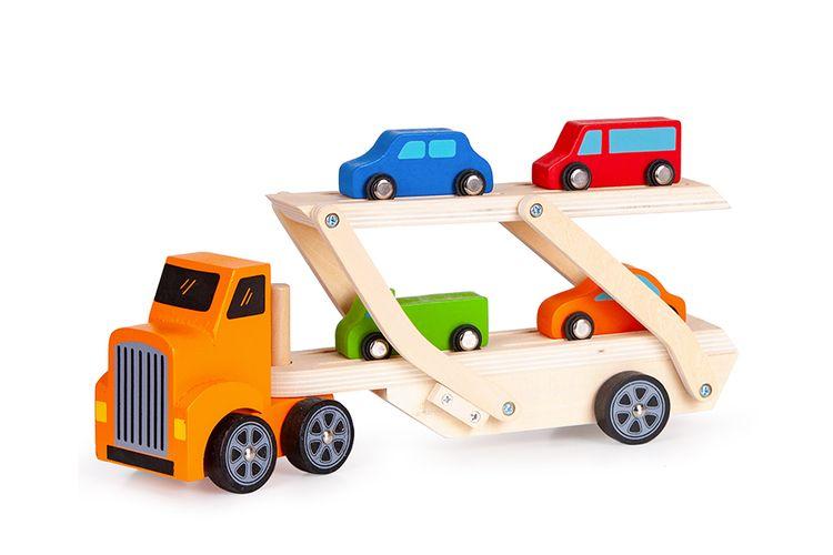 Houten vrachtwagen met auto en apos s van ECOTOYS