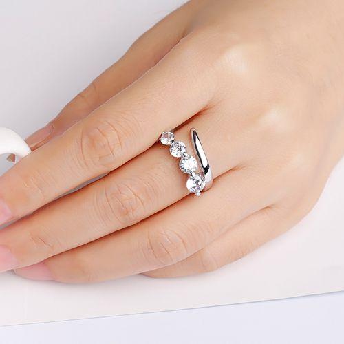 Sterling zilveren multimaat ring met zirkonia's