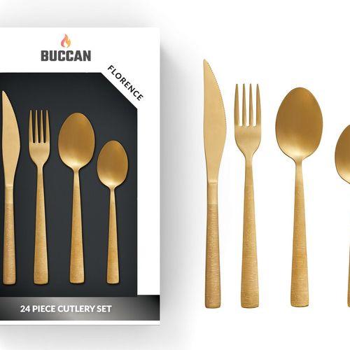 24-delige, gouden bestekset van Buccan (model: Florence)