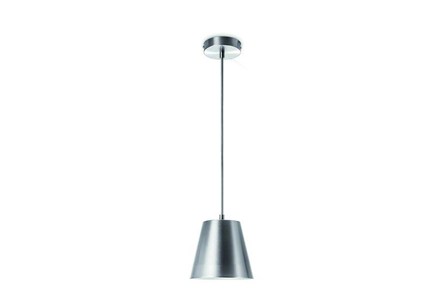 Zilverkleurige hanglamp van mat staal (ø 16 cm)