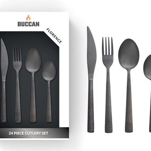 24-delige bestekset van Buccan (mat zwart)