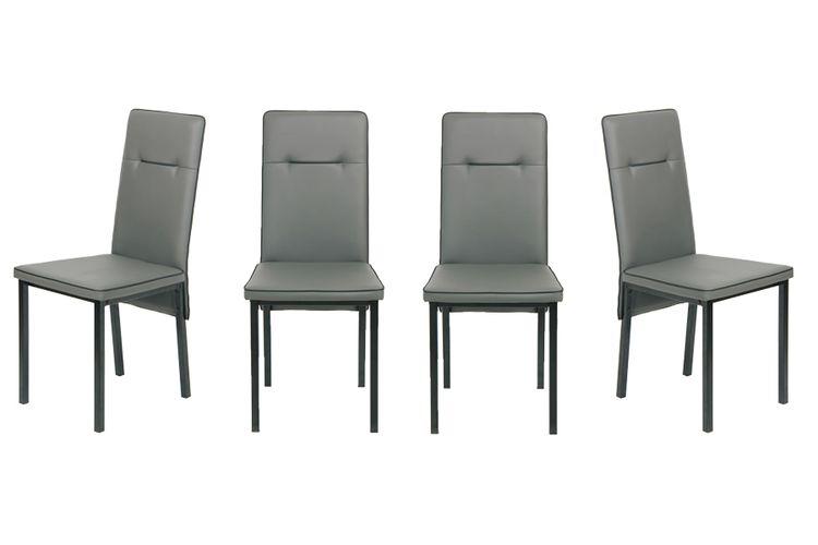 Chaise bas gris noir chaises grises avec des détails noirs