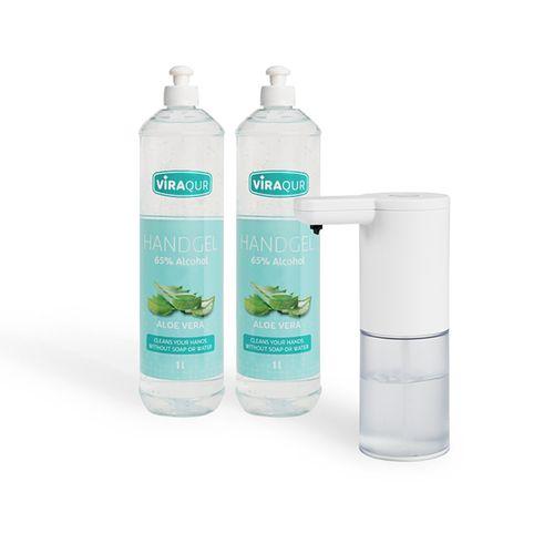 Automatische dispenser met 2 flessen handgel (2 L)