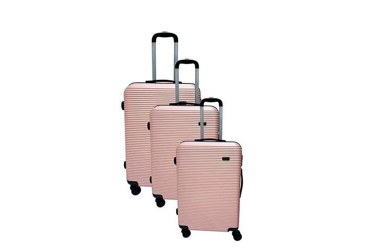 slajeslag 3-delige ABS kofferset (roze)