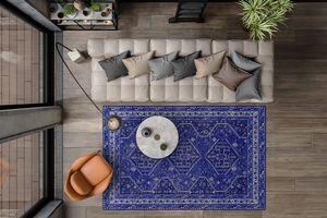 Blauw vloerkleed met hippe print (160 x 230 cm)