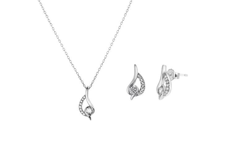 Zilveren ketting en oorbellen met zirkonia van Lucardi