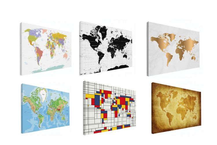 Wereldkaart op canvas (80 x 60 cm)