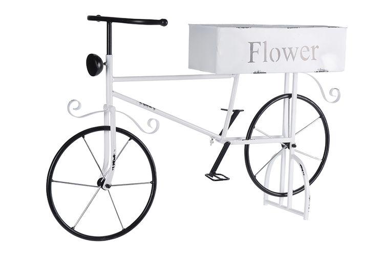 Metalen planthouder in fietsvorm
