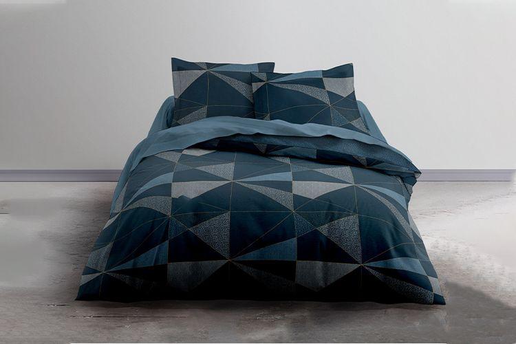 Katoenen dekbedovertrek Geometrisch Blauw (240 x 220 cm)