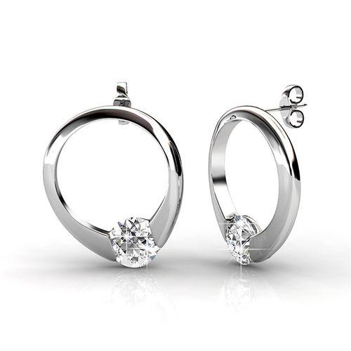 Zilverkleurige oorbellen met Swarovski-elementen