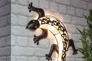 Lampe solaire décorative en forme de gecko