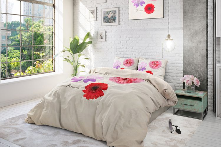 housse de couette summer flower housse de couette 100 coton summer flower 200 x 220 cm. Black Bedroom Furniture Sets. Home Design Ideas