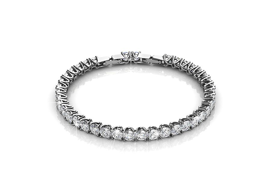 Armband met zirkonia diamantjes (witgoud plated)