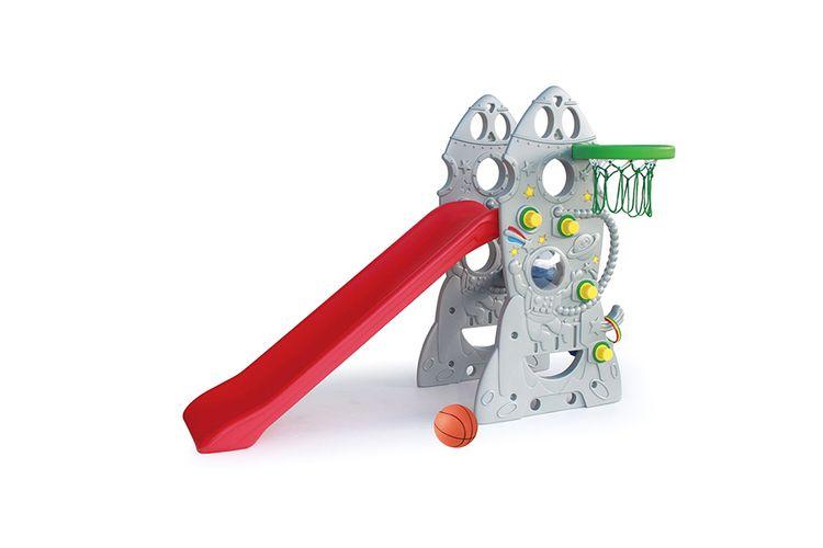 Speeltoestel met glijbaan (ruimte-thema)