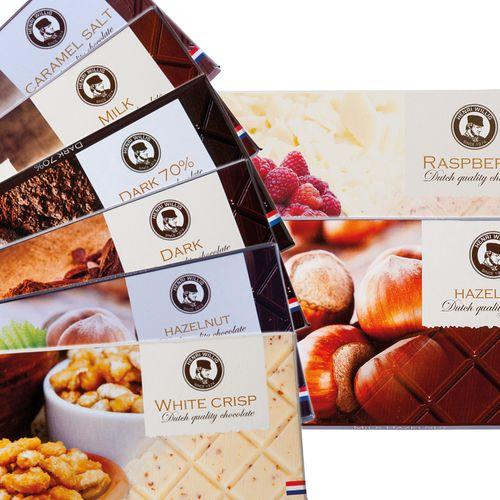 28 chocoladerepen van Henri Willig