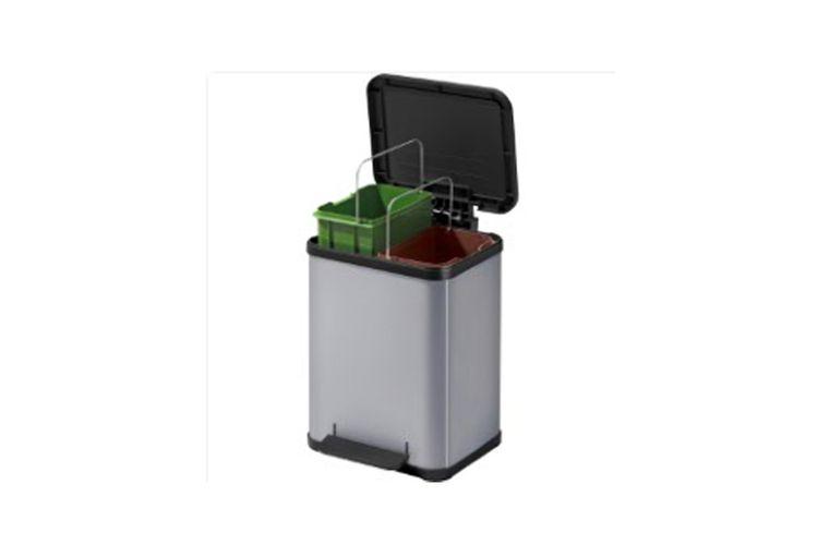 Zilveren afvalscheider met 2 emmers (2 x 9 liter)