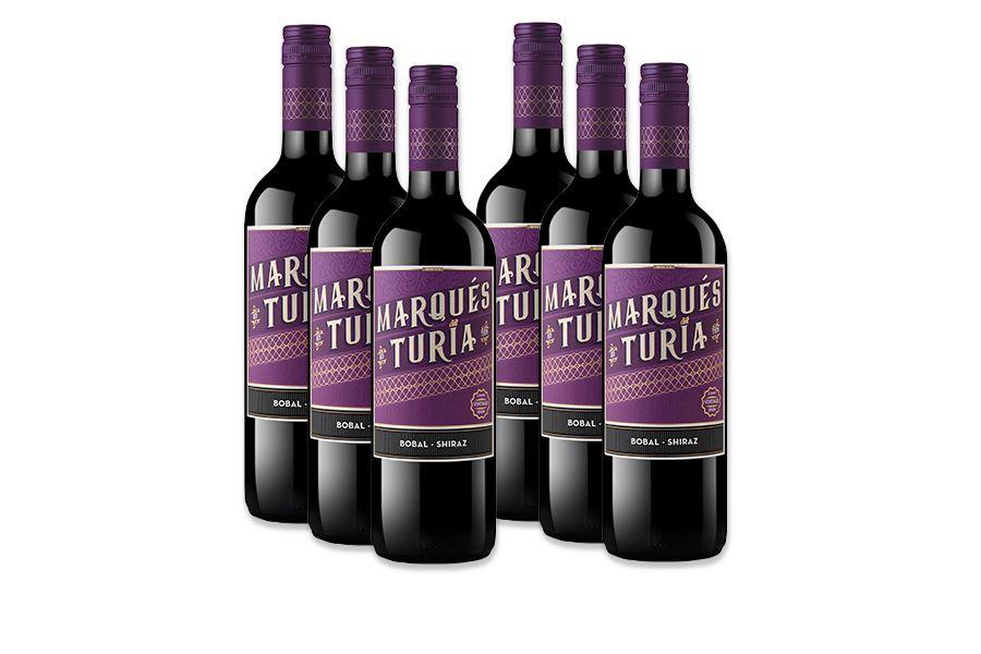 6 flessen rode wijn: Marques del Turia Tinto Shiraz