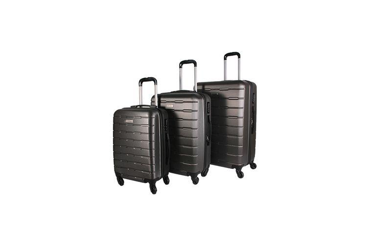 3-delige ABS kofferset met streepmotief (antraciet)