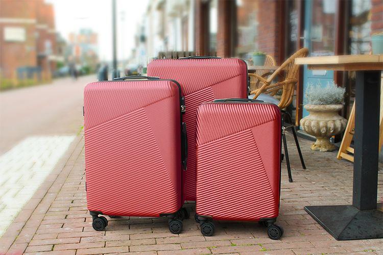 SlaJeSlag 3-delige kofferset (donkerrood)