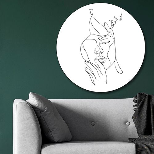 Wandcirkel met lijntekening ( 60 cm)