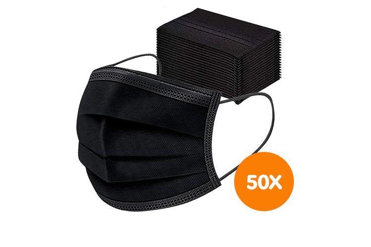 50 zwarte mondkapjes (3-laags)