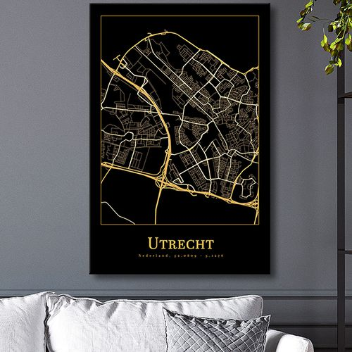 Stadskaart op canvasdoek
