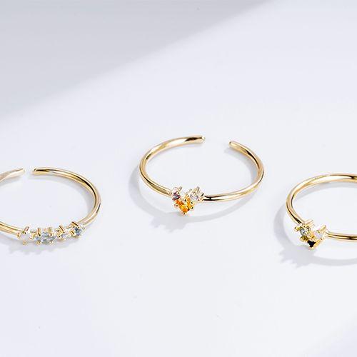 Set van 3 goudkleurige ringen met zirkonia's van Ezalya