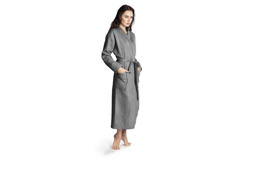 Antracietkleurige badjas met wafelpatroon (maat: M)