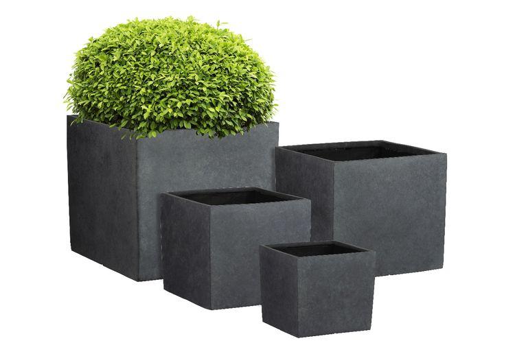 4-delige set van plantenbakken (kleur: antraciet)