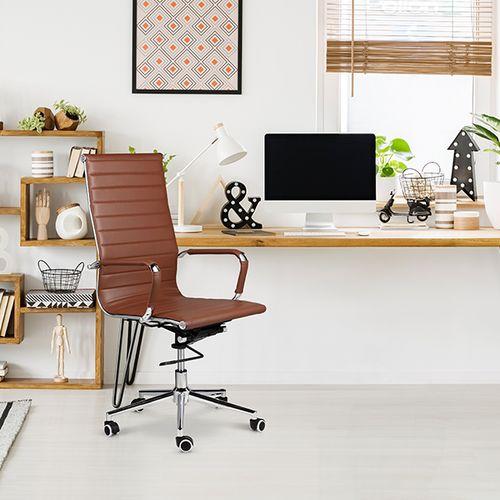 Verstelbare bureaustoel van PU-leer (cognackleur)