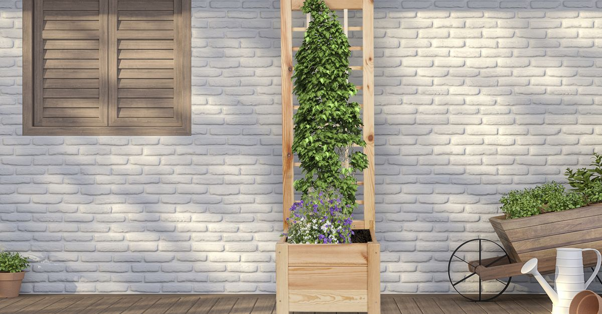 Jardinière en bois avec support (120 x 40 x 40 cm)
