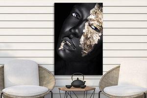 Zwart-gouden portretten op tuinposter (80 x 120 cm)