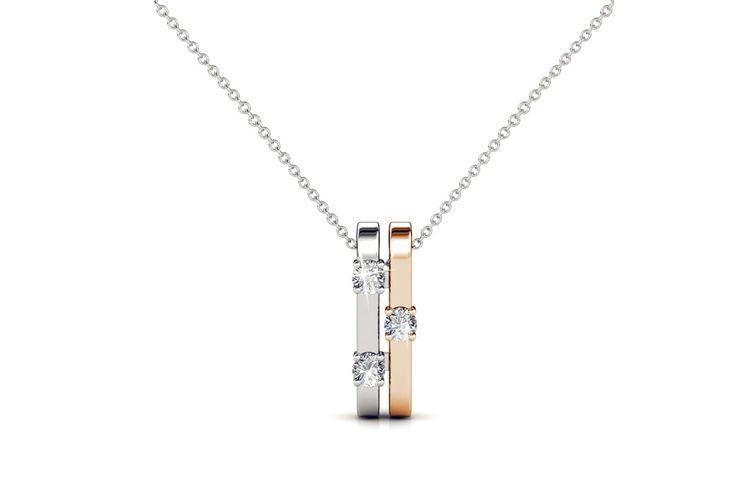 Zilver/ros�goude ketting met echte Swarovski kristallen
